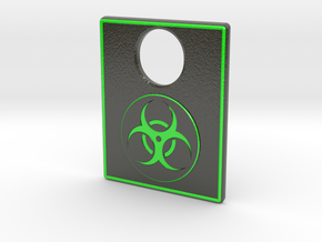 Pinball Plunger Plate - Toxic Hazard Symbol in Glossy Full Color Sandstone