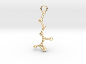 D-Methionine Molecule Necklace Earring in 14k Gold Plated Brass