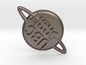 Orbit pin 2 in Polished Bronzed Silver Steel
