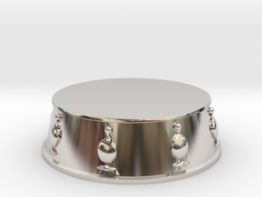 Chess Bishop Base - 1 inch in Rhodium Plated Brass
