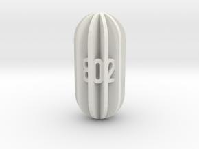 Radial Fin Dice in White Natural Versatile Plastic: d10