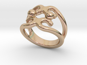 Two Bubbles Ring 20 - Italian Size 20 in 14k Rose Gold Plated Brass