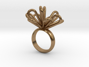 Loopy petals ring in Natural Brass