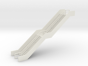 N Scale Station Stairs H50mm in White Natural Versatile Plastic