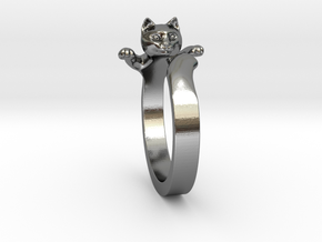 Cat Ring in Fine Detail Polished Silver