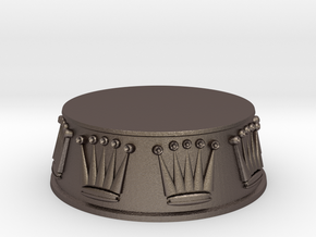 Chess Queen Base - 1 inch in Polished Bronzed Silver Steel