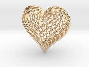 Twirling Heart Pendant in 14k Gold Plated Brass
