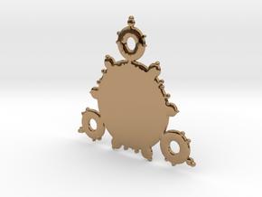 Mandelbrot 3 Leaf In Pendant in Polished Brass
