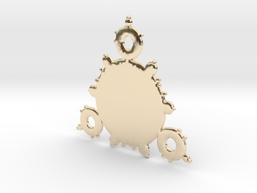 Mandelbrot 3 Leaf In Pendant in 14K Yellow Gold