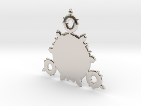 Mandelbrot 3 Leaf In Pendant in Rhodium Plated Brass