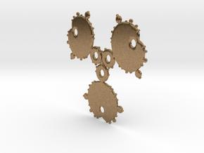 Mandelbrot 3 Leaf Out Pendant in Natural Brass