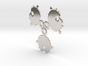 Mandelbrot 3 Leaf Out Pendant in Rhodium Plated Brass