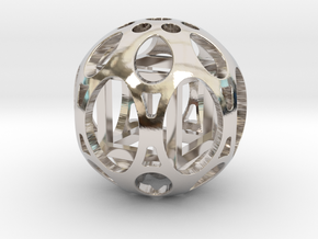 Sphere housing a cube in Rhodium Plated Brass