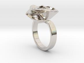 Rose ring in Rhodium Plated Brass