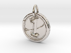 Hearth Stone Coin Pendant in Rhodium Plated Brass