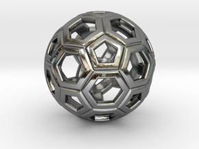 Soccer Ball 1 Inch in Fine Detail Polished Silver