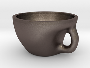 Tea Bowl in Polished Bronzed Silver Steel