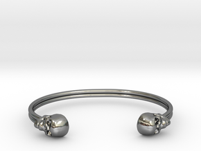 Double Banded Skull Cuff in Fine Detail Polished Silver: Small