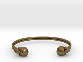 Double Banded Skull Cuff in Polished Bronze: Small