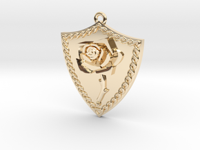 Rose Shield Pendant in 14k Gold Plated Brass