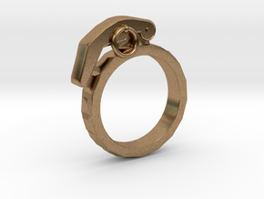 The Gringade - Grenade Ring (Size 8.5) in Natural Brass