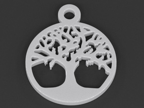Tree Of Life Pendant in White Processed Versatile Plastic