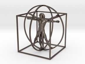 Vitruvian Man Stainless Steel. in Polished Bronzed Silver Steel