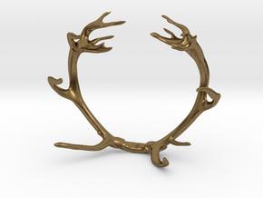 Red Deer Antler Bracelet 80mm in Natural Bronze