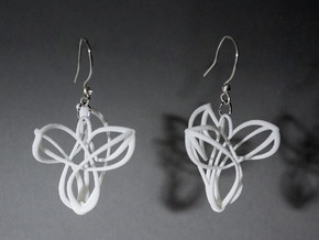 Triquetra Triskele Earring Pair in White Natural Versatile Plastic