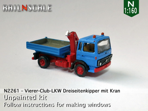 Vierer-Club-LKW Dreiseitenkipper mit Kran (N 1:160 in Smooth Fine Detail Plastic