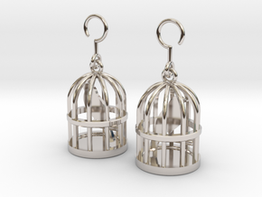 Birdcage Earrings in Rhodium Plated Brass