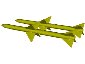 1/18 scale Raytheon AIM-7E Sparrow missiles x 2 in Smooth Fine Detail Plastic