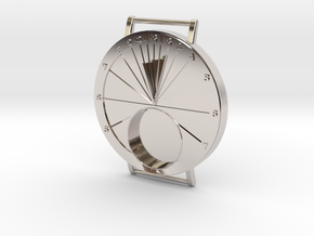 27.75N Sundial Wristwatch For Working Compass in Rhodium Plated Brass