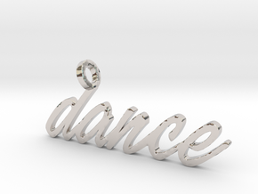 Dance Pendant-DANCE in Rhodium Plated Brass