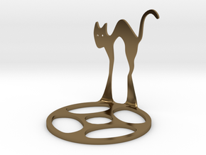 Icelandic Christmas Cat Tealight in Polished Bronze