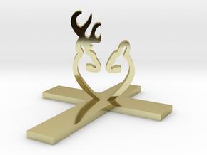 Cross&Deer Small in 18k Gold Plated Brass