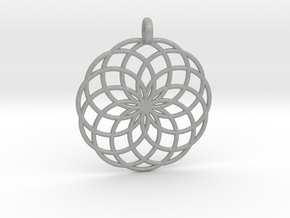 14 Ring Pendant - Flower of Life in Aluminum