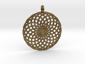 18 Ring Pendant - Flower of Life in Polished Bronze