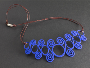 Spirals & Circles Necklace in Blue Processed Versatile Plastic