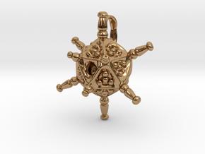 Circogonia Icosahedral Radiolarian Pendant in Polished Brass
