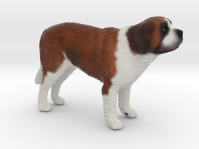 Standing Saint Bernard in Full Color Sandstone