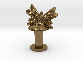 Fairy on Toadstool in Polished Bronze