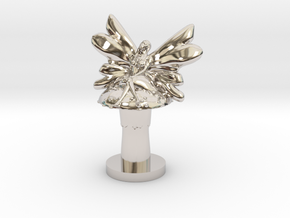 Fairy on Toadstool in Rhodium Plated Brass