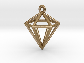 3D Diamond Pendant in Polished Gold Steel