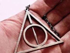 Extra Large Deathly Hallows Pendant in Polished Bronzed Silver Steel