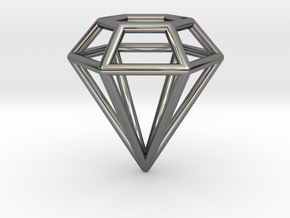 Pendant 'Diamond 3D' in Fine Detail Polished Silver