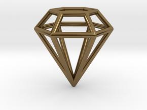 Pendant 'Diamond 3D' in Polished Bronze