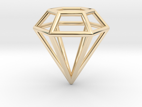 Pendant 'Diamond 3D' in 14k Gold Plated Brass