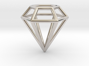 Pendant 'Diamond 3D' in Rhodium Plated Brass