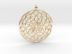 Flower of Life - Pendant 3 in 14k Gold Plated Brass